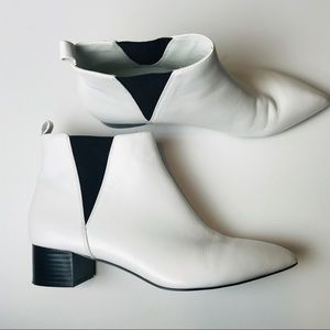 Nine West white leather booties